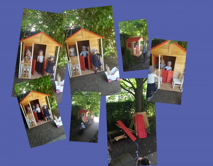 Unser Neues Bauhaus im Wald ist endlich aufgebaut, die Kinder haben grosse Freude