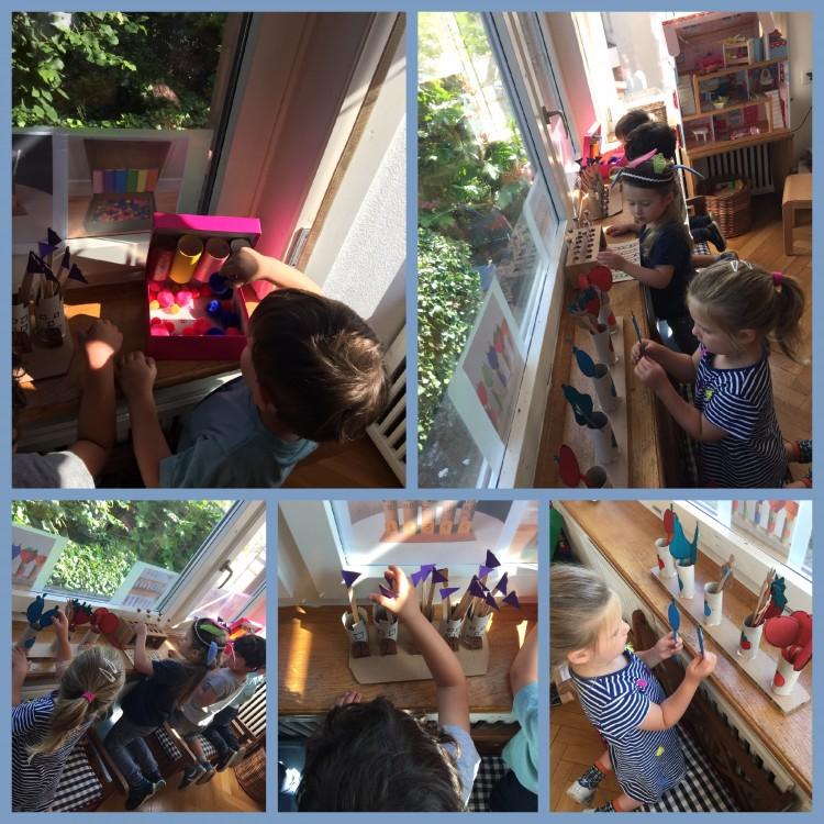 Kaum aufgebaut, die Kinder finden das Spielfenster spannend und wollen gleich alle zusammen Ihre erste versuche tätigen, Idee geglückt, warten wir auf die nächsten