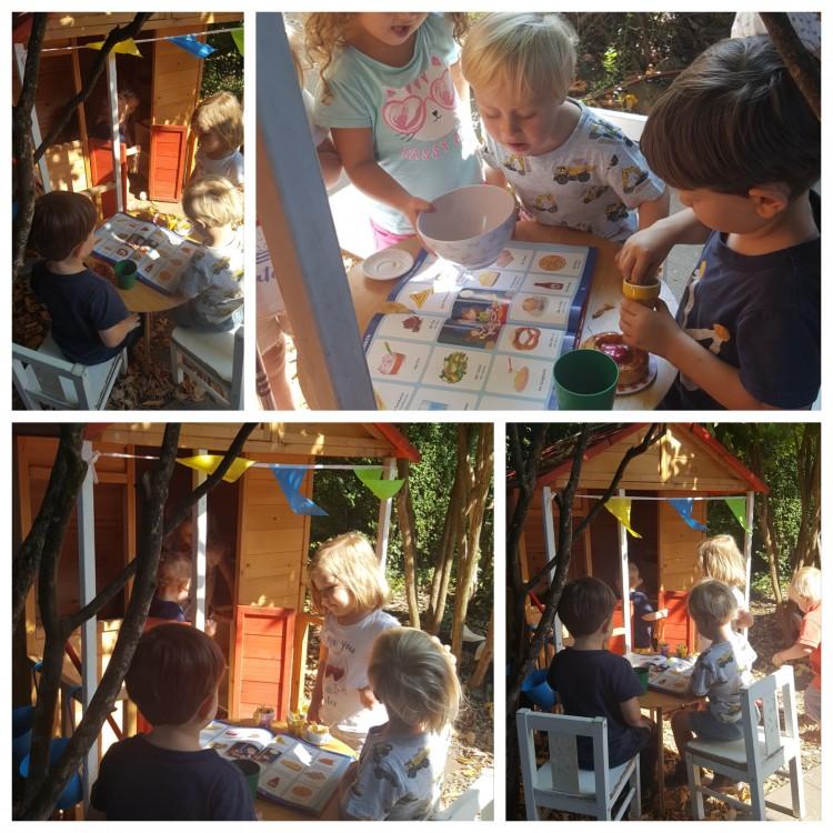 Die Kinder verwandeln das Häuschen zu einem Ferien Haus mit Restaurant feeling
